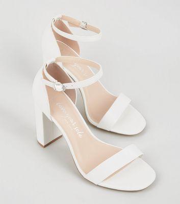 Wide Fit Chaussures blanches en similicuir à deux parties  Kj1r5