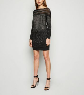 Cameo Rose Black Diamanté Mesh Dress New Look