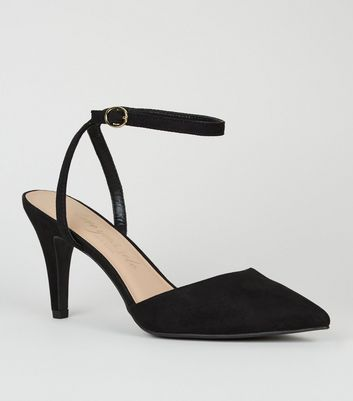 Wide Fit Black Suedette Pointed Court