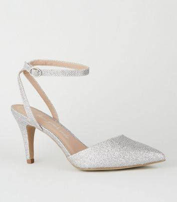 Wide Fit Silver Glitter Pointed Court