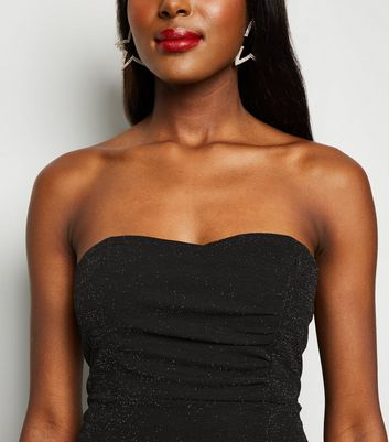 Missfiga Black Glitter Bandeau Bodycon Dress New Look