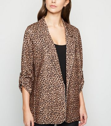 Brown Scuba Leopard Print Blazer