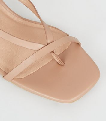 shop for Camel Leather-Look Strappy Low Heel Stilettos New Look at Shopo