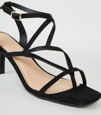 shop for Black Suedette Strappy Toe Post Stilettos New Look Vegan at Shopo