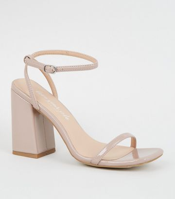 Pale Pink Square Toe Block Heel Sandals