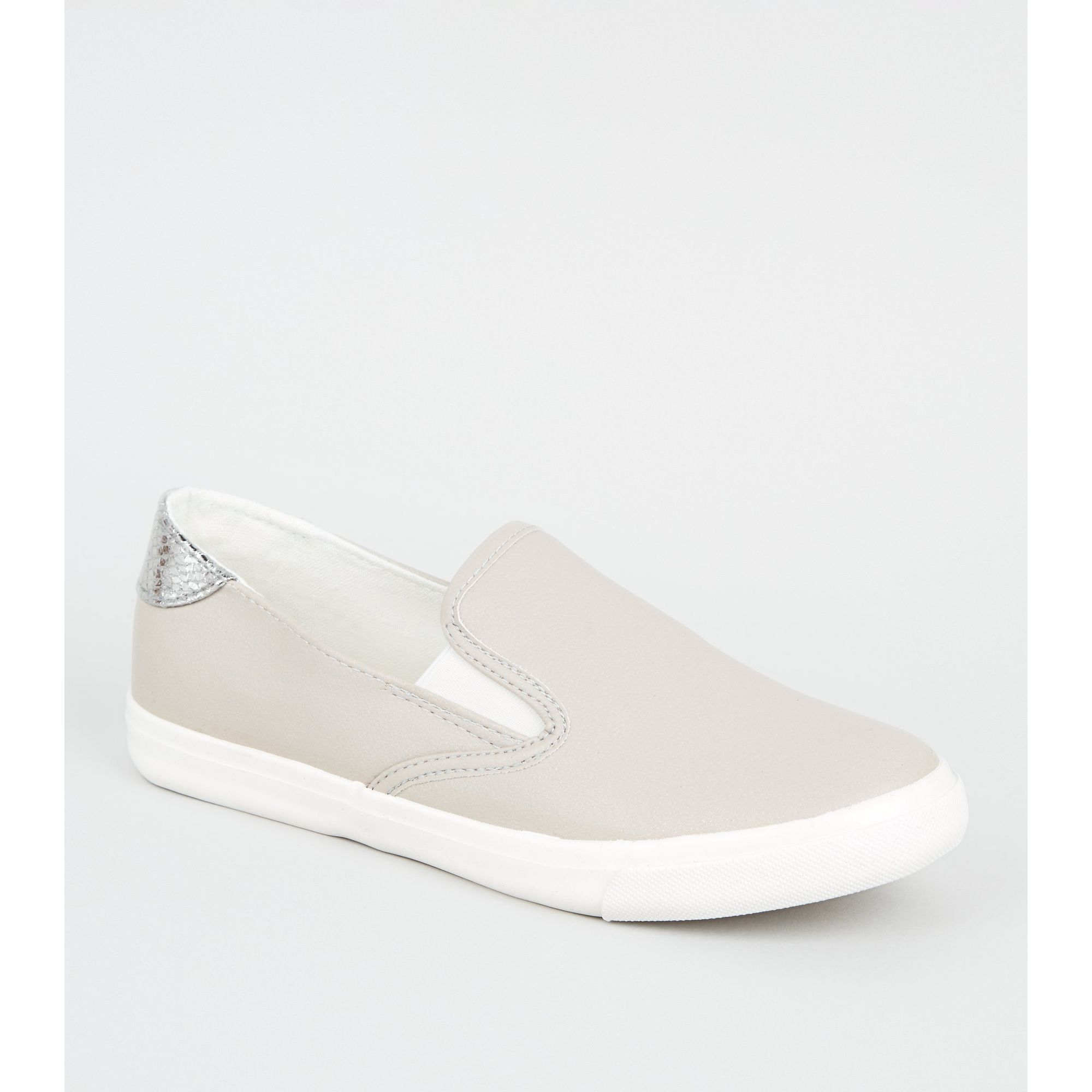 New-Look-Wide-Fit-Leather-Look-Slip-On-Trainers thumbnail 7