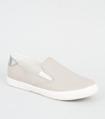Wide Fit Grey Leather-Look Slip On