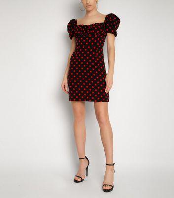 NaaNaa Black Spot Puff Sleeve Dress New Look