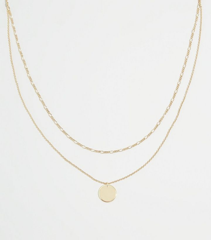 Gold Disc Pendant Layered Necklace New Look