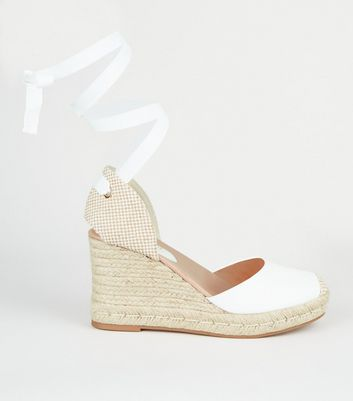 White Leather-Look Ankle Tie Espadrille
