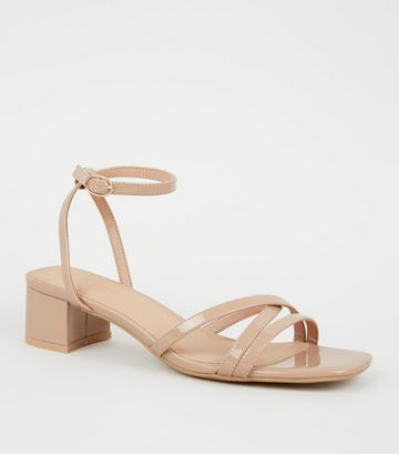 Camel Patent Strappy Low Heel Sandals