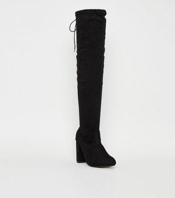 Knee Tie Block Heel Boots
