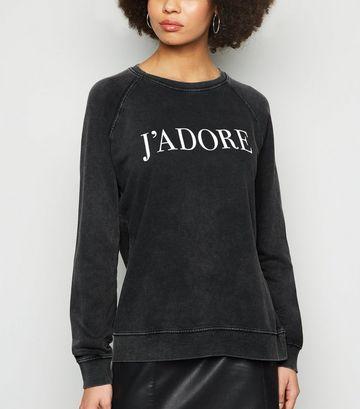 Dark Grey Acid Wash J'Adore Slogan Sweatshirt