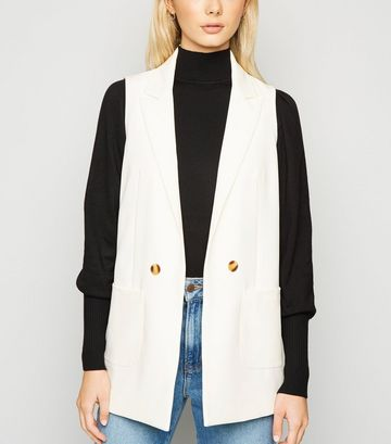 White Single Breasted Button Waistcoat