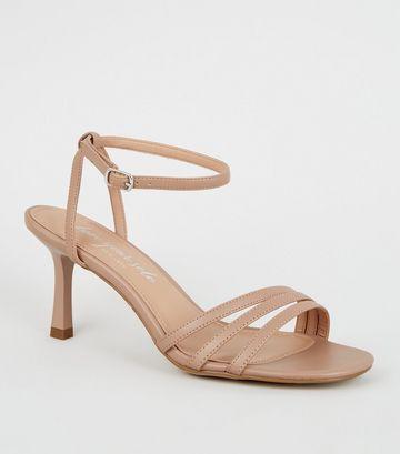Cream Strappy Flared Stiletto Sandals
