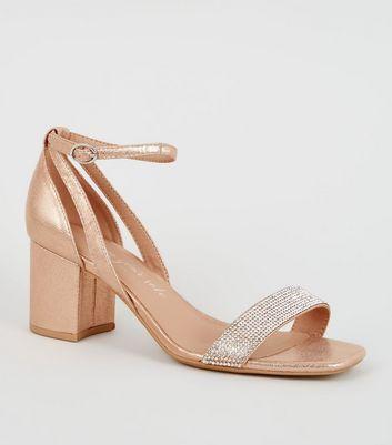 Wide Fit Rose Gold Diamanté Block Heels