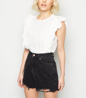 Petite Black Frayed High Waist Mom Shorts