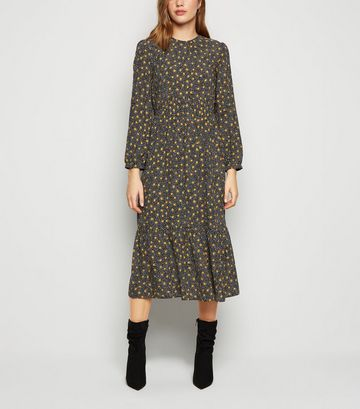 Black Spot Long Sleeve Smock Midi Dress