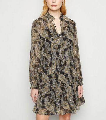 Black Paisley Crinkled Smock Dress