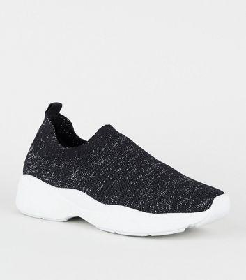 Black Glitter Woven Knit Sock Trainers