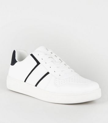 White Leather-Look Side Stripe Lace-Up