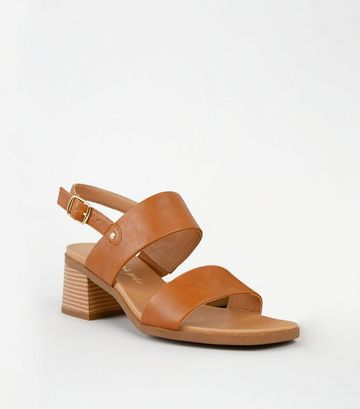 Tan Leather-Look 2 Strap Block Heel Sandals