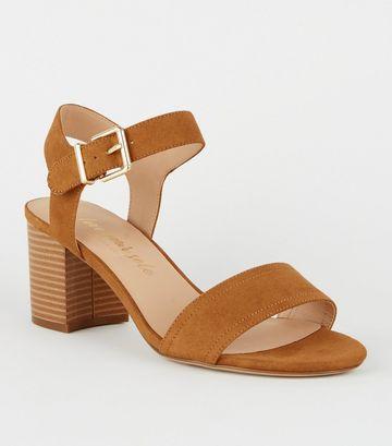 Tan Suedette Wood Block Heel Sandals