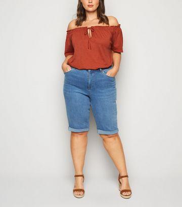 Curves Bright Blue 'Lift & Shape' Denim Knee Shorts