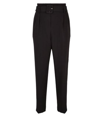 NA-KD Black Belted Trousers New Look