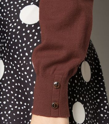 Click to view product details and reviews for Apricot Brown Button Cuff Roll Neck Jumper New Look.