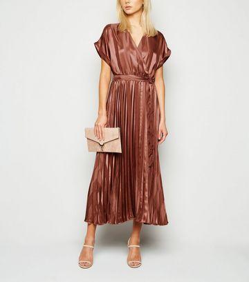 Rust Stripe Satin Pleated Midi Dress