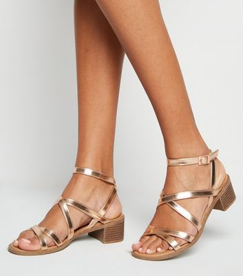 Wide Fit Rose Gold Strappy Low Heel