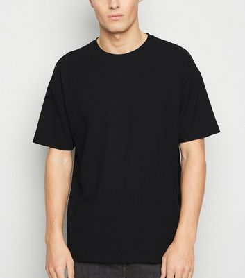 Black Textured Grid Oversized T-Shirt   New Look