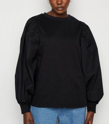 Black Poplin Balloon Sleeve Sweatshirt