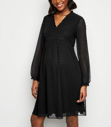 Maternity Black Chiffon Spot Smock Dress