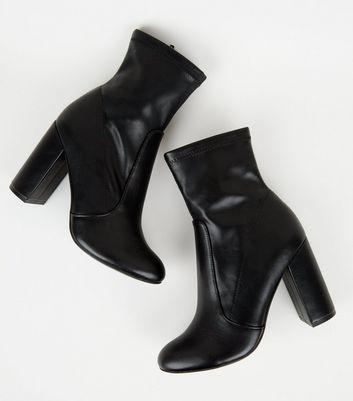 Bottes noires style chaussettes en similicuir à talons Ajouter à la Wishlist Supprimer de la Wishlist