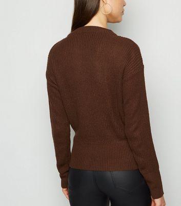 QED Dark Brown Wrap Jumper New Look