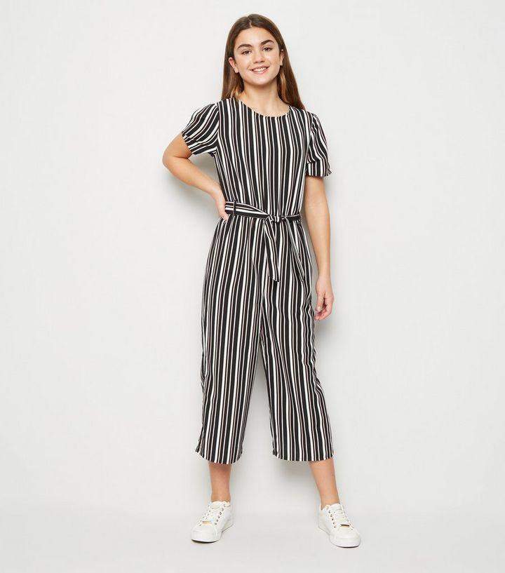 Girls Black Stripe Belted Jumpsuit   New Look