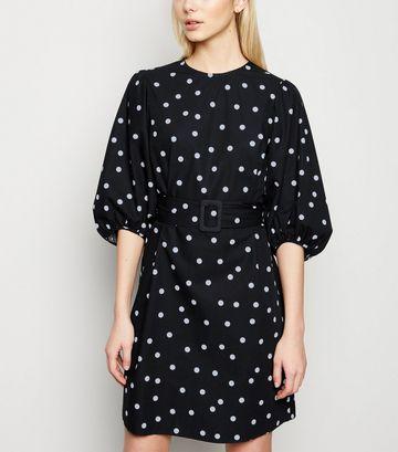 Black Spot Puff Sleeve Belted Poplin Dress