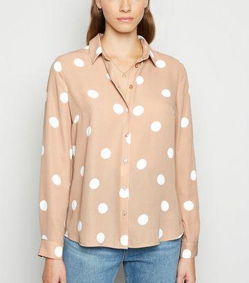 Light Brown Spot Long Sleeve Collared Shirt