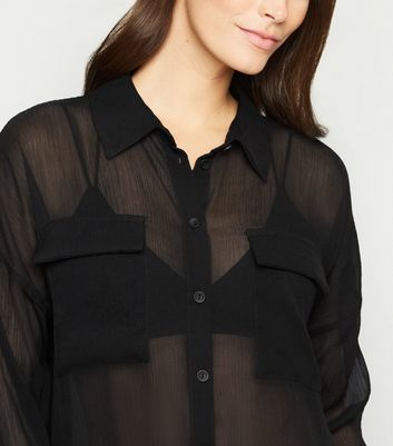 Noisy May Black Mesh Long Sheer Shirt New Look