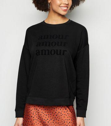 Black Amour Flocked Slogan Sweatshirt