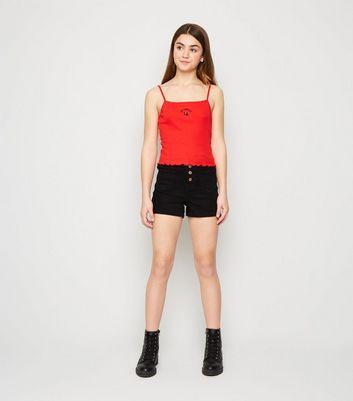 ladies black denim shorts