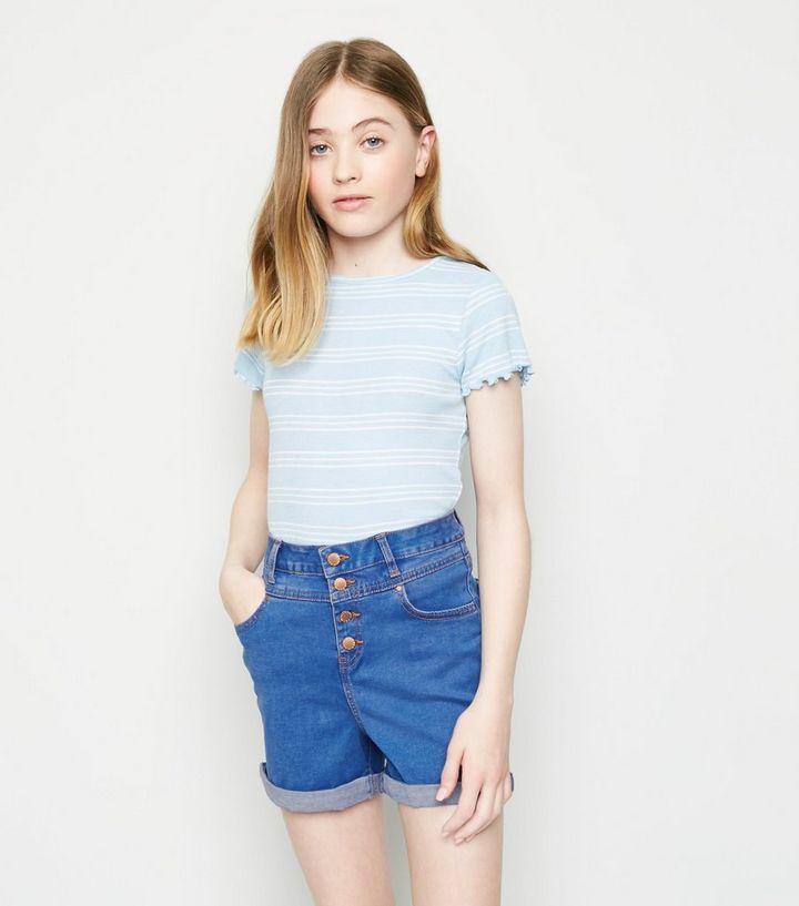Girls Bright Blue High Waist Denim Shorts | New Look