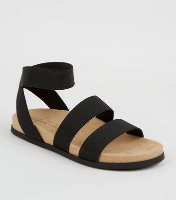Wide Fit Black Elastic Strap Footbed