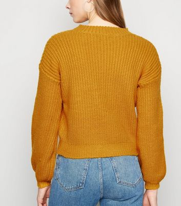 Sunshine Soul Mustard Chunky Knit Jumper New Look