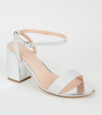 Wide Fit Silver Glitter Strap Mid Heel