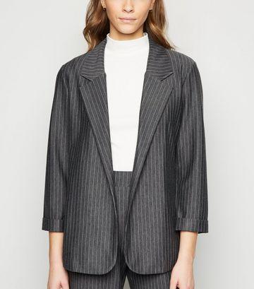 Grey Pinstripe Jersey Blazer
