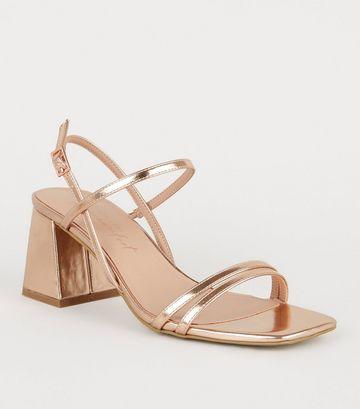 Rose Gold 2 Strap Flared Block Heel Sandals