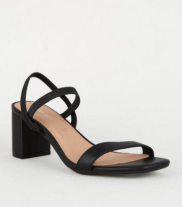 Black Leather-Look Elastic Strap Heeled Sandals